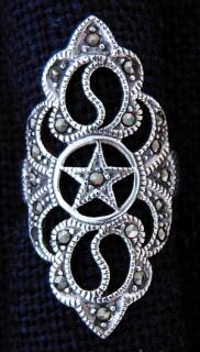 Ring Pentagramm Mittelalterlich, Silber 925, Größe 18 / 56