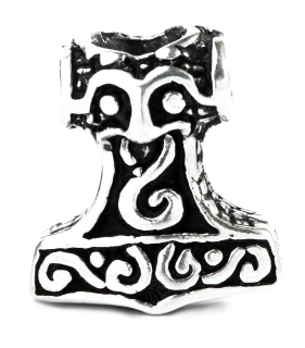 Bartperle und Anhänger Mjölnir2, Thors Hammer, Silber 925