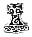 Bartperle und Anhänger Mjölnir2, Thors Hammer,...
