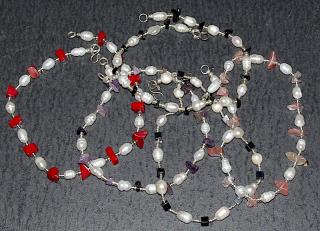 Fußkettchen mit Perlen und Edelsteinen versch. Silber 925