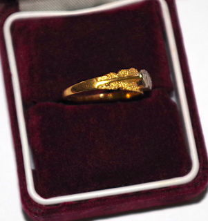 Ring mit 2 Diamantherzen Gold 750 um 1850, Gr.53
