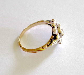 Antiker Ring mit 9 Diamanten, Gold 585, Gr.56+