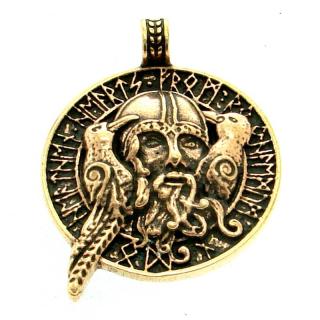 Anhänger Amulett Odin mit Raben, Bronze