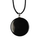 Amulett Anhänger Hexenspiegel Obsidian poliert
