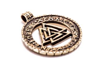 Amulett Anhänger Valknut Pikten Odin, Bronze