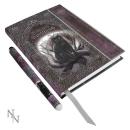 Buch der Schatten Katze und Pentagramm, mit Stift