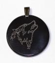 Amulett Anhänger Wolf, Rinderhorn