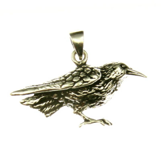 Amulett Anhänger Rabe, groß, Silber 925