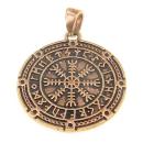 Anhänger Aegishjalmur, Eagershelm im Runenkreis, Bronze