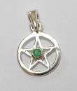 Anhänger Pentagramm mini mit Smaragd, Silber 925,...