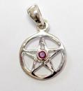Anhänger Pentagramm mini mit Rubin, Silber 925,...