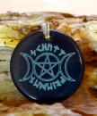 Amulett Anhänger Triple Moon mit Pentagramm