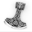 Amulett Anhänger Mjölnir Streitaxt mit Valknut,...
