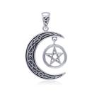 Anhänger Celtic Moon Mond mit Pentagramm groß...