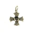 Anhänger Gleichschenkliges Kreuz mit Onyx, Silber 925