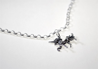 Charm Anhänger  3D Einhorn / Unicorn, Silber 925