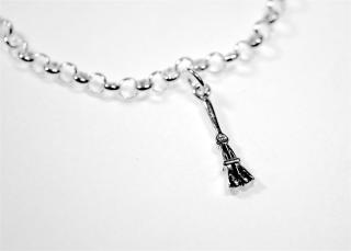 Charm Anhänger 3D Hexenbesen / Broom, Silber 925