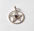 Anhänger Pentagramm mit Granat, Silber 925,...