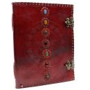 Notizbuch 7 Chakra und Pentagramm groß, Leder