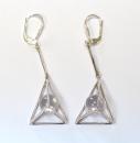 Ohrhänger Pyramide mit Kristallkugel, Silber 925,...